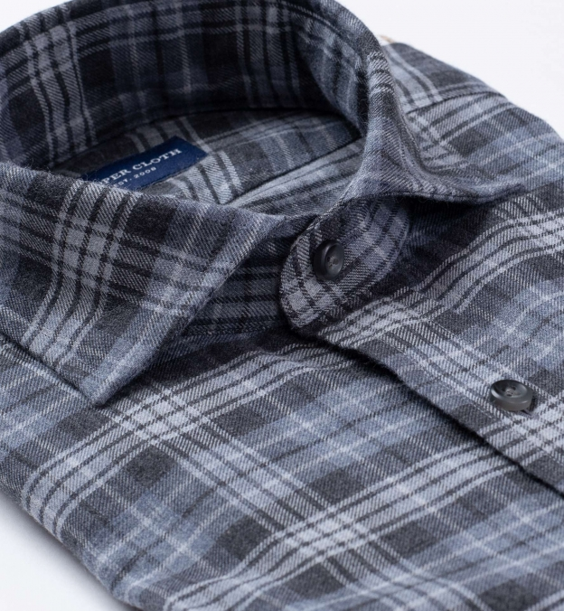Satoyama Light Grey and Slate Plaid Flannel