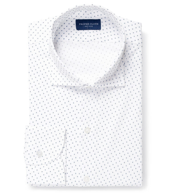 White and Light Blue Micro Floral Print Tailor Made Shirt