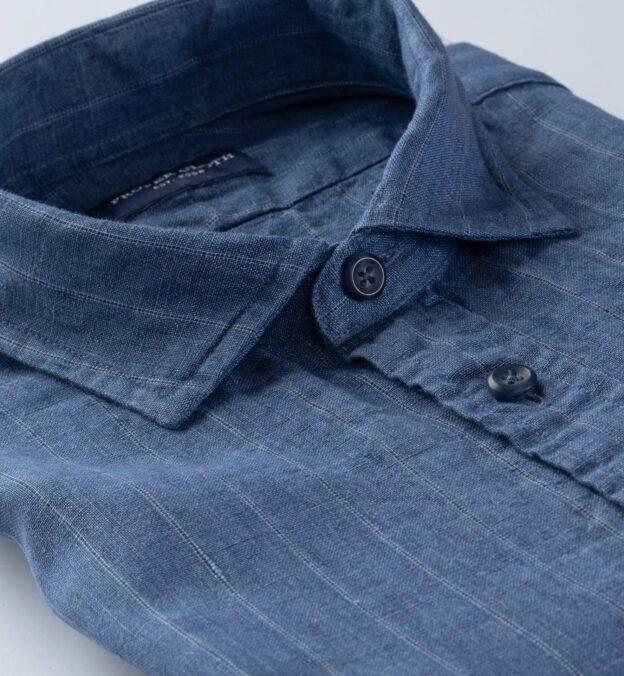 Leomaster Faded Blue Pinstripe Linen