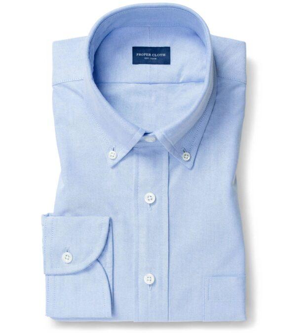 Thomas Mason Blue Comfort Oxford Button Down