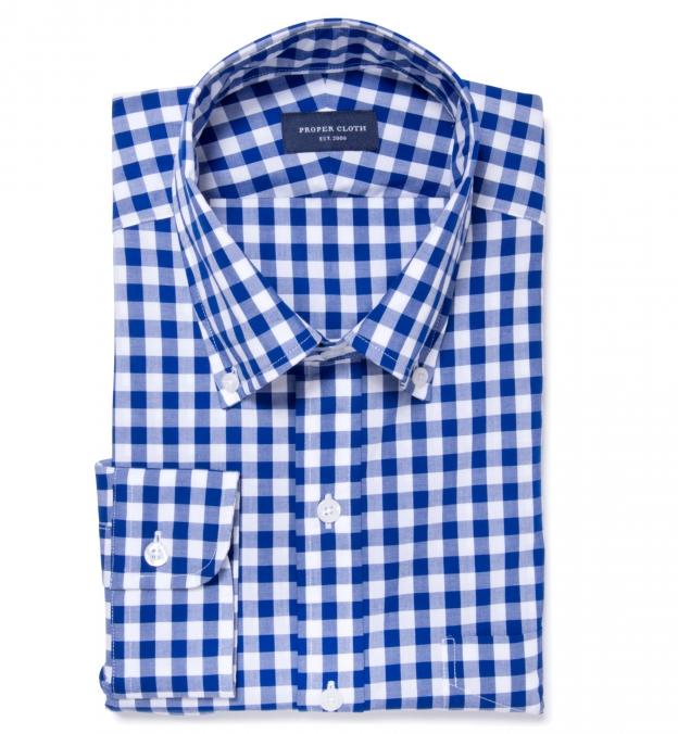 Royal Blue Large Gingham Men's Dress Shirt