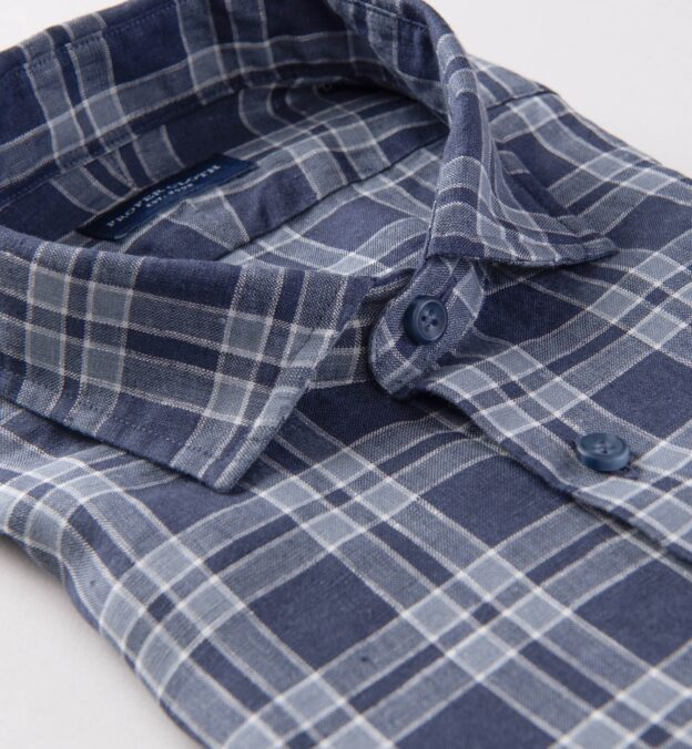 Portuguese Washed Navy and Slate Large Plaid Linen