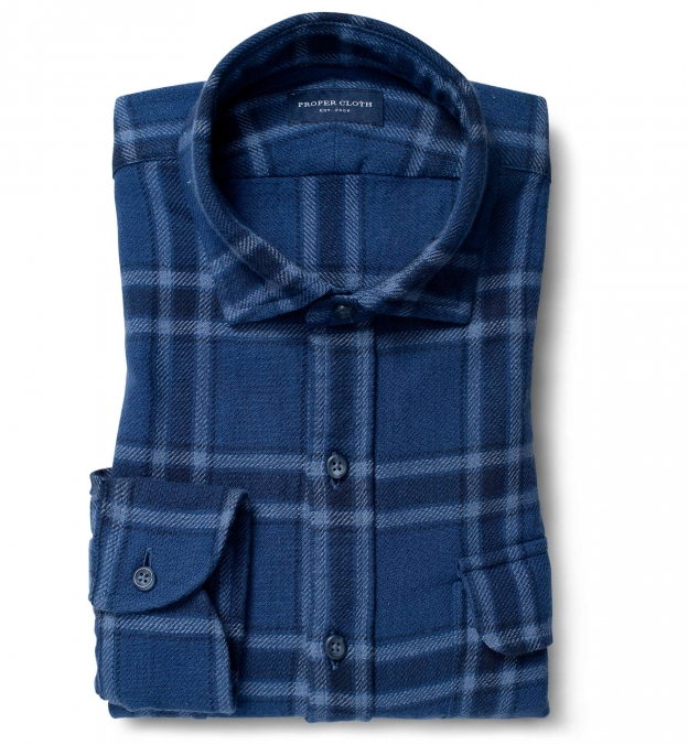 Japanese Washed Faded Blue Country Plaid