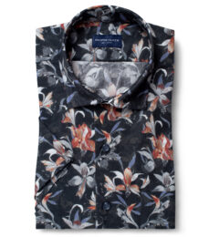 Albiate Multi Color Large Floral Print Short Sleeve Shirt
