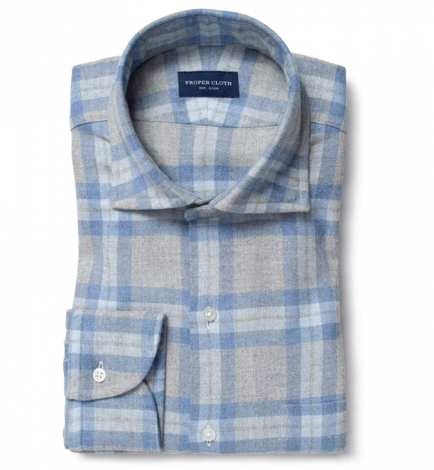 Canclini Light Grey and Blue Plaid Beacon Flannel