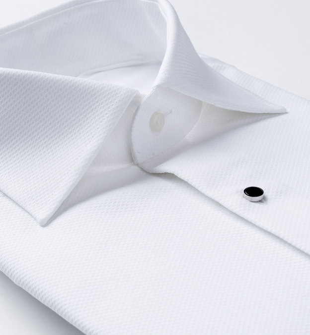 Mercer White Twill Tuxedo Pique Shirt
