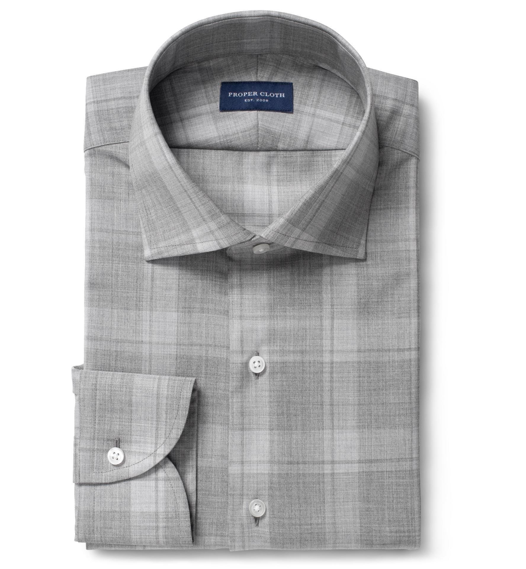 Reda Merino Wool Grey Tonal Plaid Mens Dress Shirt By Proper Cloth