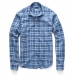 Blue Cotton and Linen Slub Plaid Shirt Thumbnail 3
