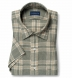 Portuguese Washed Sage and Beige Large Plaid Linen Shirt Thumbnail 1