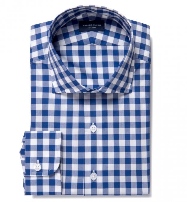 100s Royal Blue Large Gingham Tailor Made Shirt