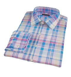 Pink Blue Red Madras Fitted Shirt