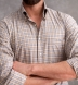 Cortina Camel and Light Grey Melange Plaid Flannel Shirt Thumbnail 4