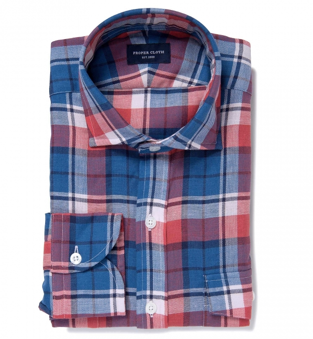 Japanese Blue and Red Summer Plaid