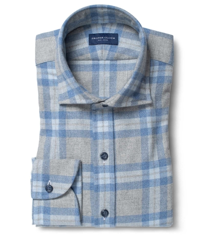 Canclini Grey and Slate Plaid Beacon Flannel