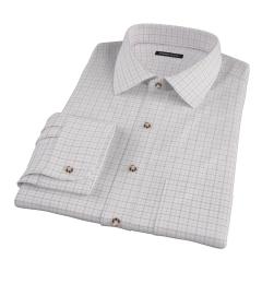 Canclini Brown Tan Grid Oxford Custom Made Shirt