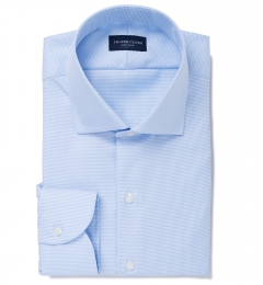 Mayfair Wrinkle-Resistant Light Blue Houndstooth Fitted Shirt
