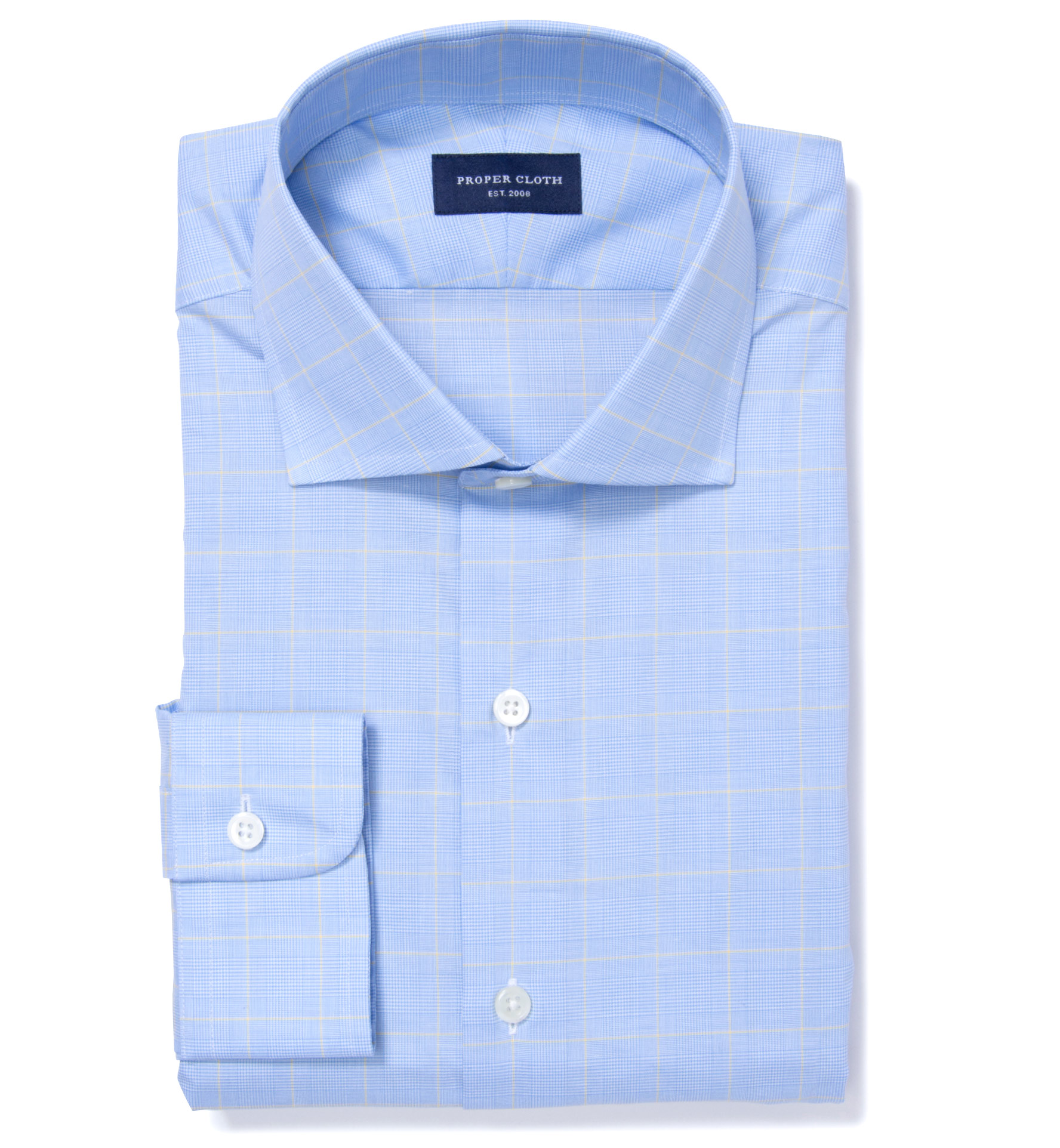 8609cd2503b Thomas Mason Blue and Yellow Prince of Wales Check Fitted Dress ...