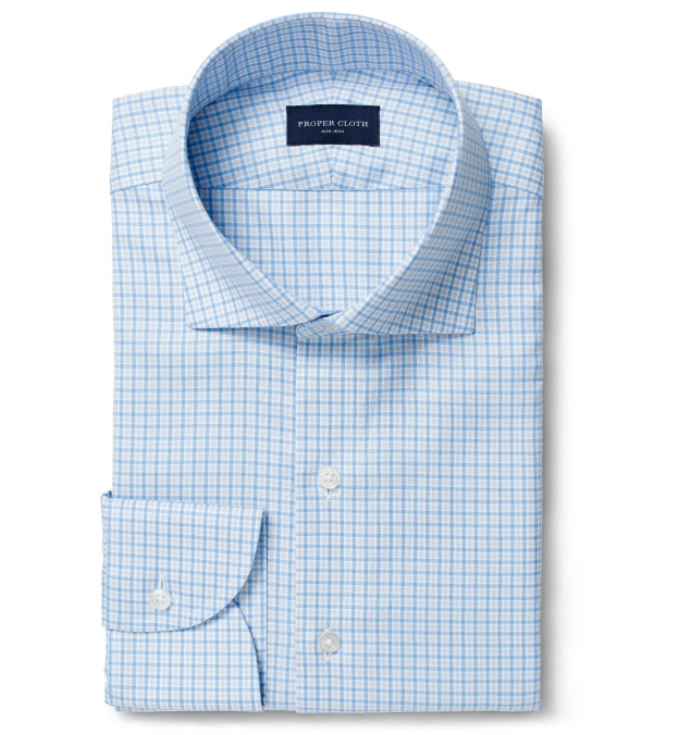 Non-Iron Supima Blue and Light Grey Multi Gingham