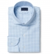 Non-Iron Supima Blue and Light Grey Multi Gingham Shirt Thumbnail 1