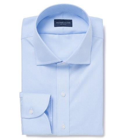 Mayfair Wrinkle-Resistant Light Blue Houndstooth