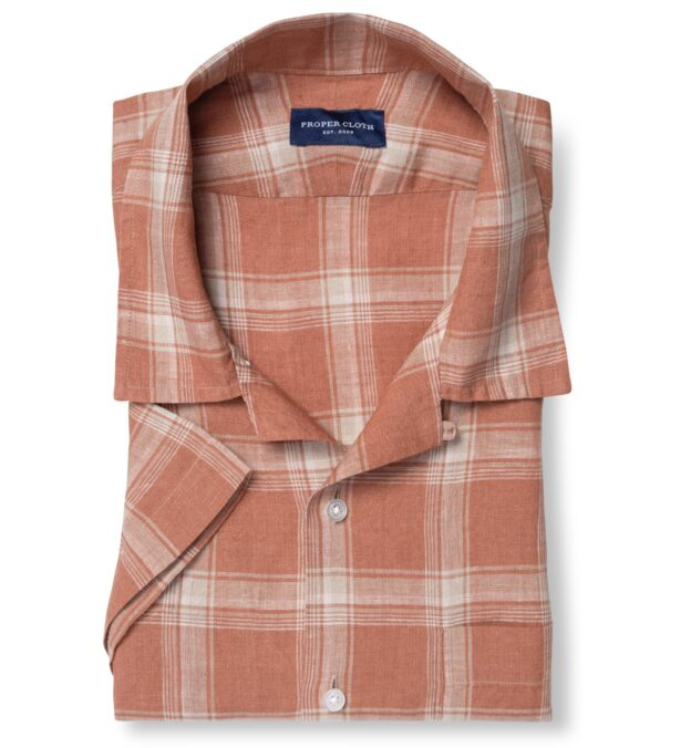 Portuguese Washed Sienna and Beige Shadow Plaid Linen