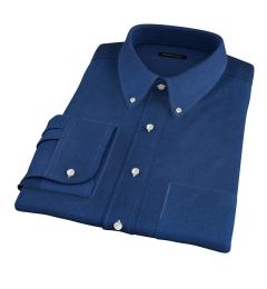 Portuguese Slate Blue Melange Oxford Fitted Dress Shirt