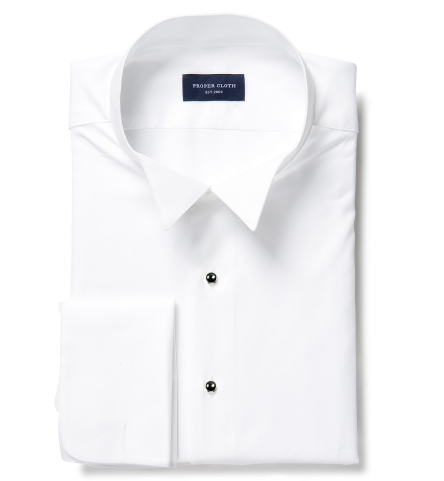 Thomas Mason White Twill Wingtip Tuxedo Shirt