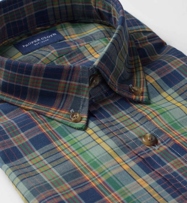 Blue Green and Yellow Indian Madras
