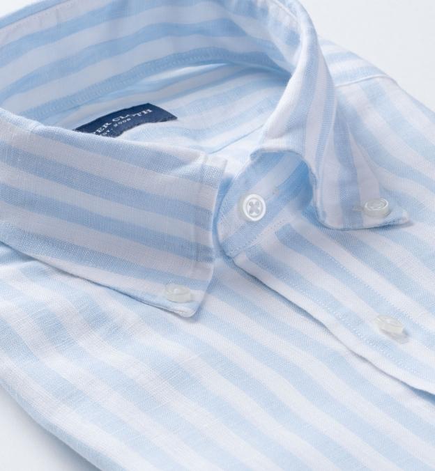 Light Blue Bengal Stripe Linen
