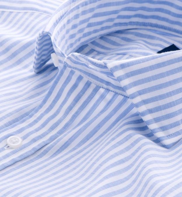 Albini Blue Stripe Comfort Chambray Popover