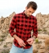 Scarlet and Black Ombre Plaid Flannel Western Shirt Shirt Thumbnail 4