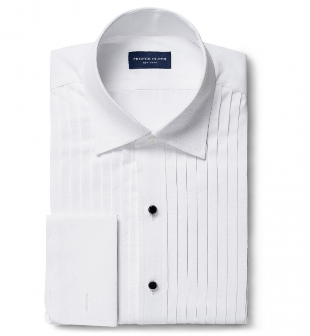 Thomas Mason White Luxury Broadcloth Tuxedo Pleated Front
