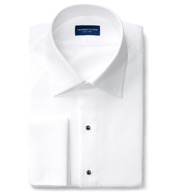 Wrinkle-Resistant Supima White Royal Oxford with Pique Bib