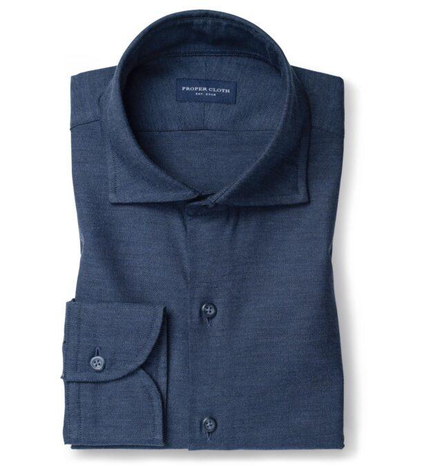 Navy Melange Oxford Fitted Dress Shirt