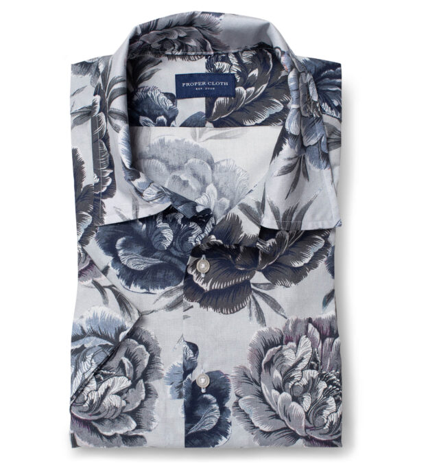 Albiate Blue and Grey Large Floral