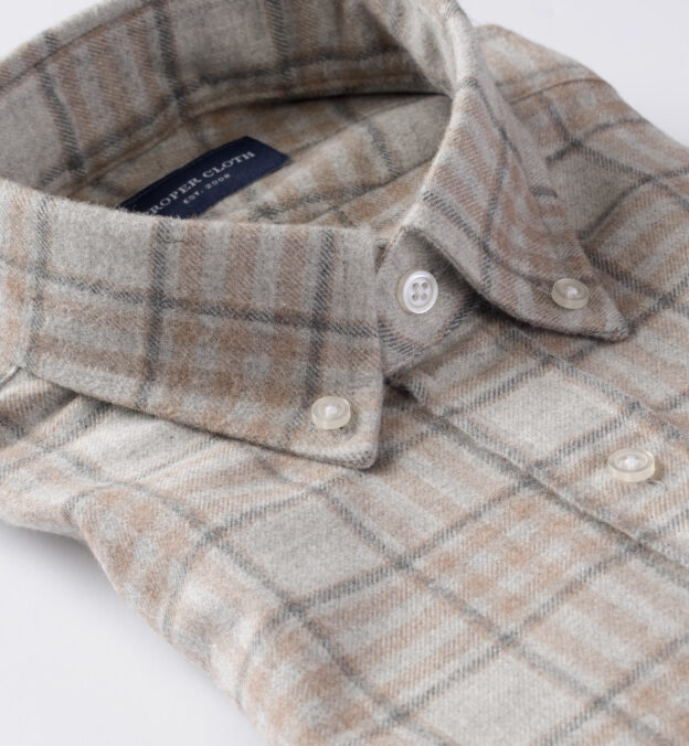 Canclini Light Grey and Beige Plaid Beacon Flannel