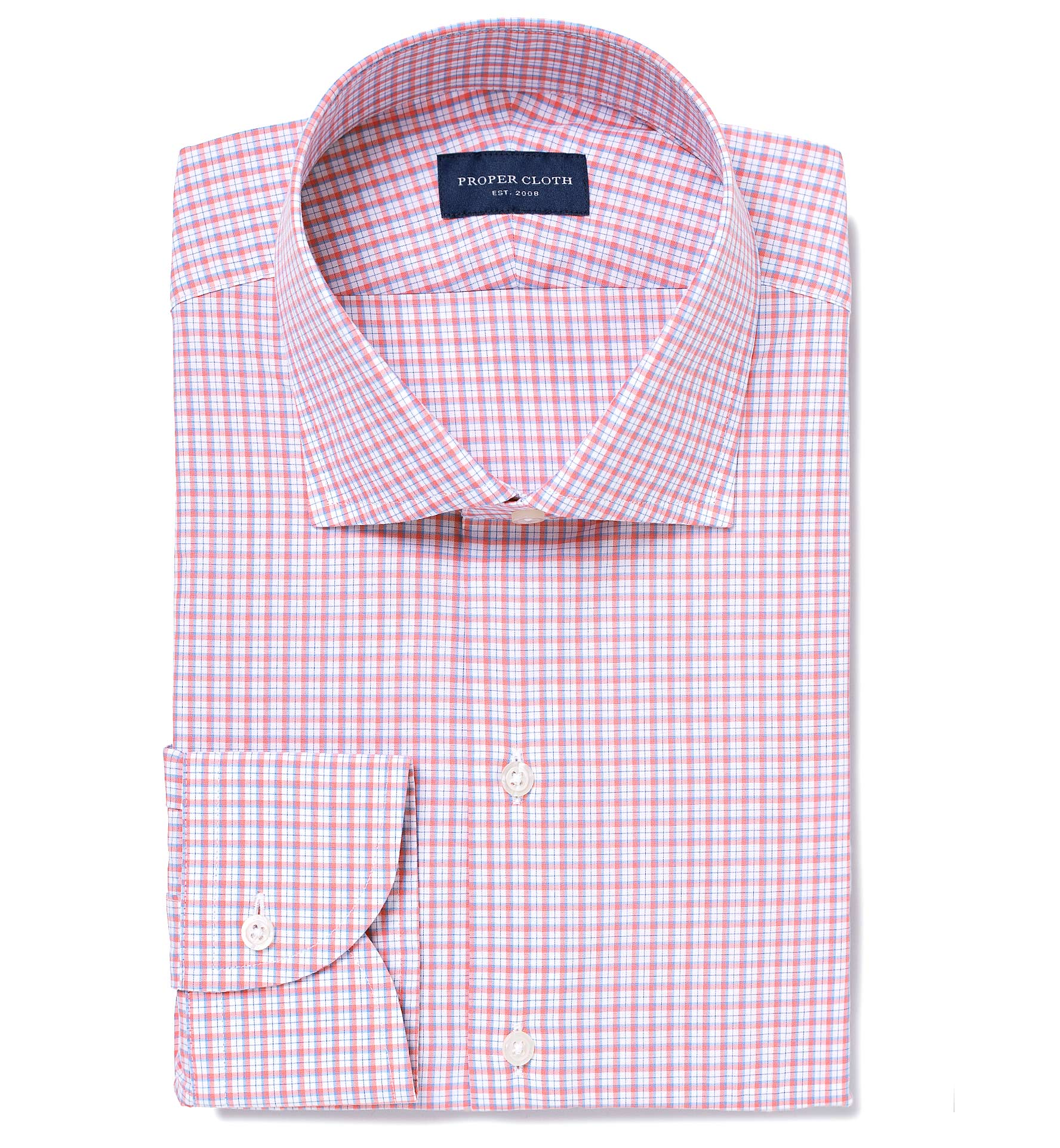 Trento Coral And Light Blue Small Check Fitted Dress Shirt By Proper