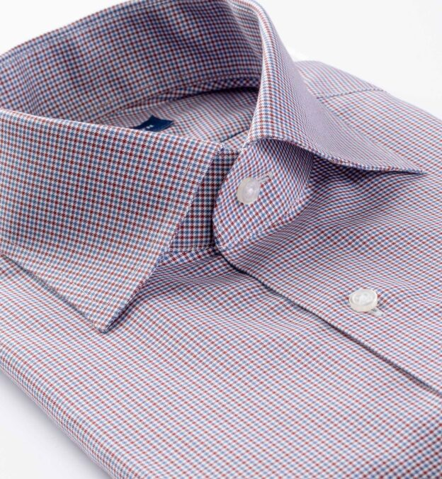 Non-Iron Stretch Red and Blue Houndstooth Check