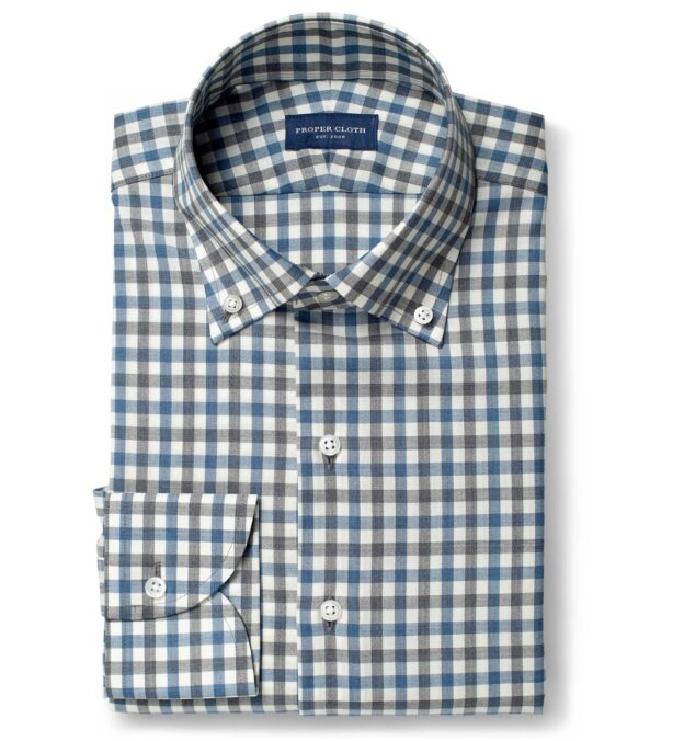 Reda Grey and Blue Melange Gingham Merino Wool
