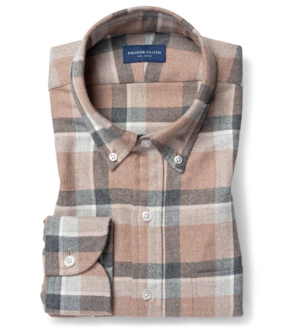 Canclini Beige and Grey Shadow Plaid Beacon Flannel