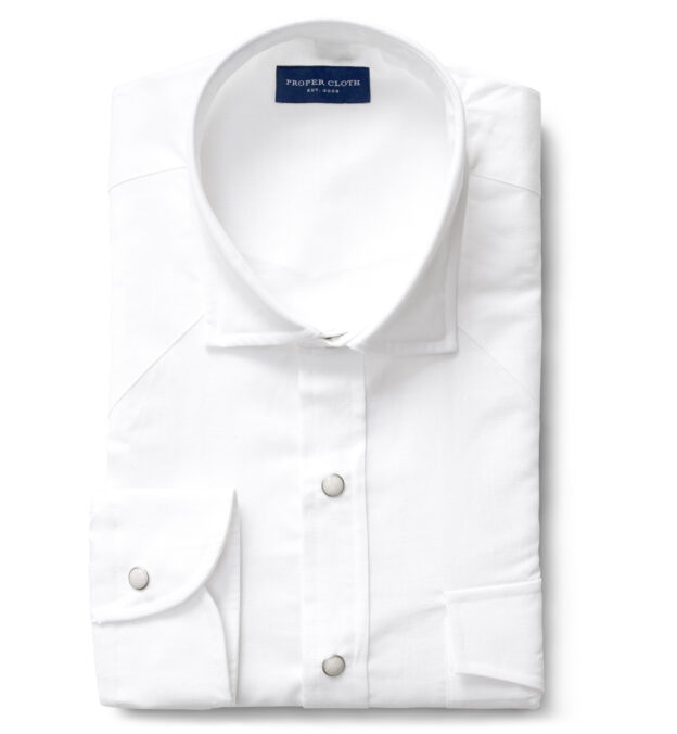 White Cotton and Linen Oxford Western Shirt