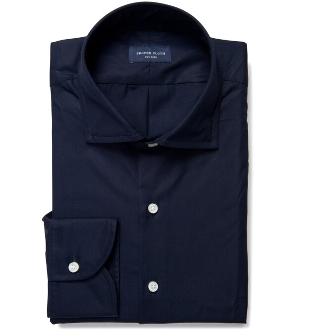 Mercer Navy Broadcloth Men's Dress Shirt