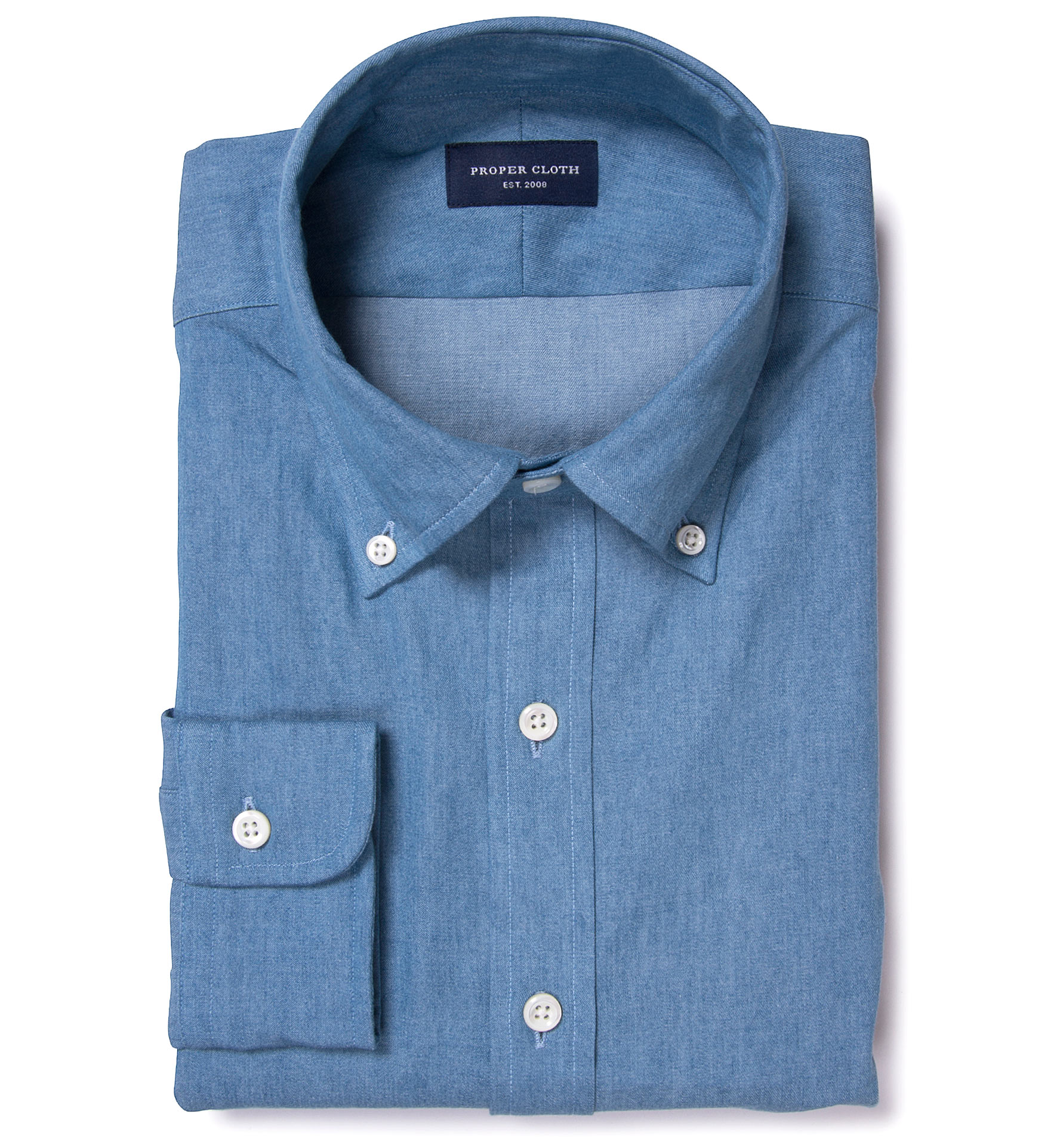 Japanese Light Wash Denim Tailor Made Shirt By Proper Cloth