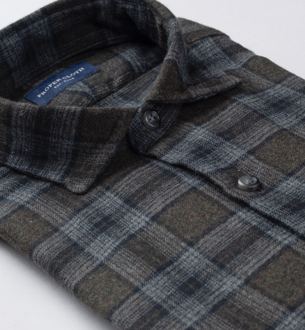 Canclini Pine and Grey Ombre Plaid Beacon Flannel