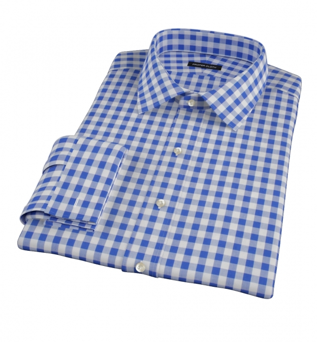 Royal Blue Large Gingham Dress Shirt