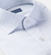 Non-Iron Stretch Grey and Light Blue Glen Plaid Shirt Thumbnail 2