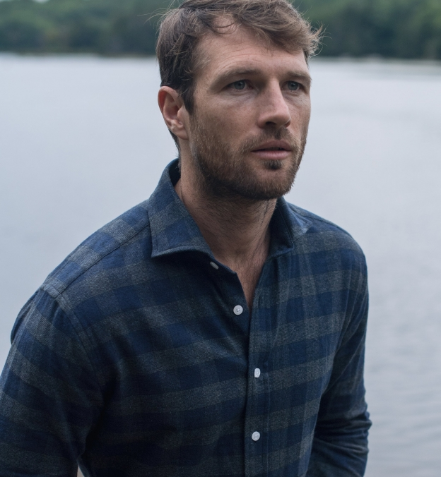 Canclini Navy and Grey Plaid Beacon Flannel