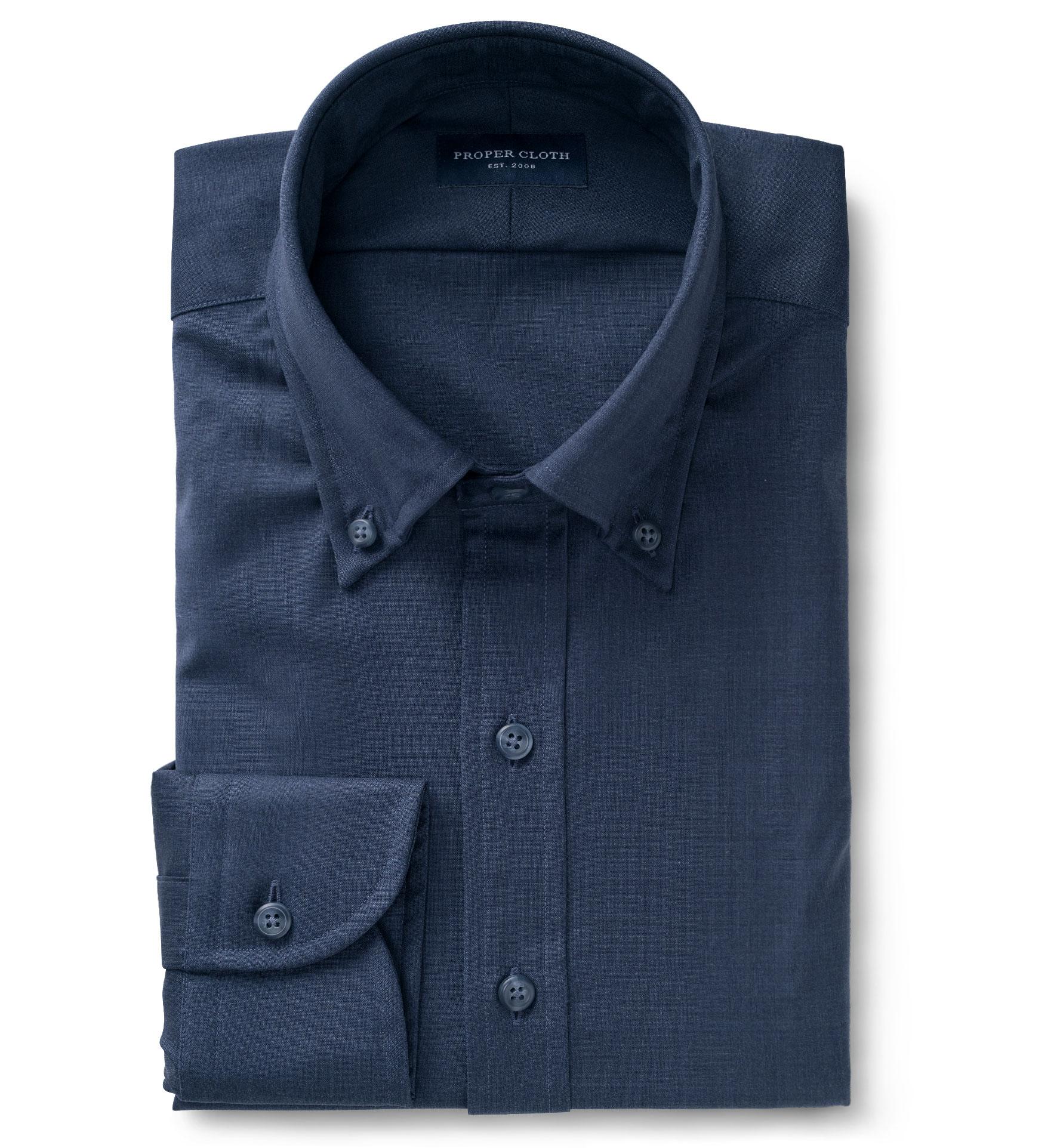 Reda Slate Blue Merino Wool Custom Dress Shirt By Proper Cloth