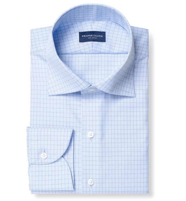 Mayfair Wrinkle-Resistant Light Blue Small Houndstooth Check