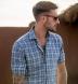 Bleecker Light Blue and Grey Melange Large Plaid Shirt Thumbnail 3